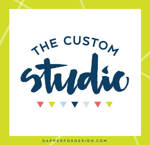 The Custom Studio Hand Lettered Logo Design and Brand by Dapper Fox Design - Bright, Modern, Feminine, Lime Green, Navy, Coral Pink Color Palette