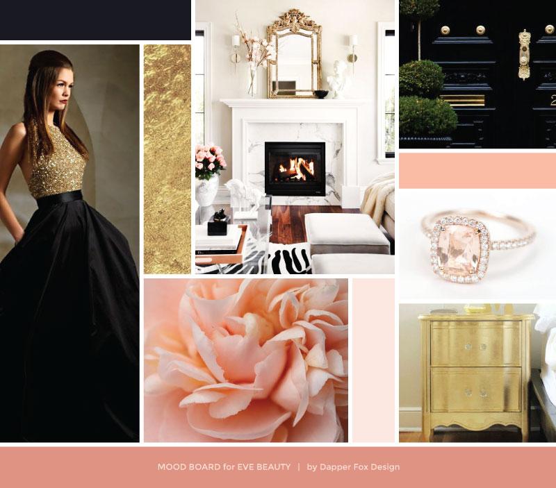 EVE BEAUTY | branding + website design — Dapper Fox Design - Branding + Website Design - #femininemoodboard mood board gold pink blush feminine luxury #moodboard