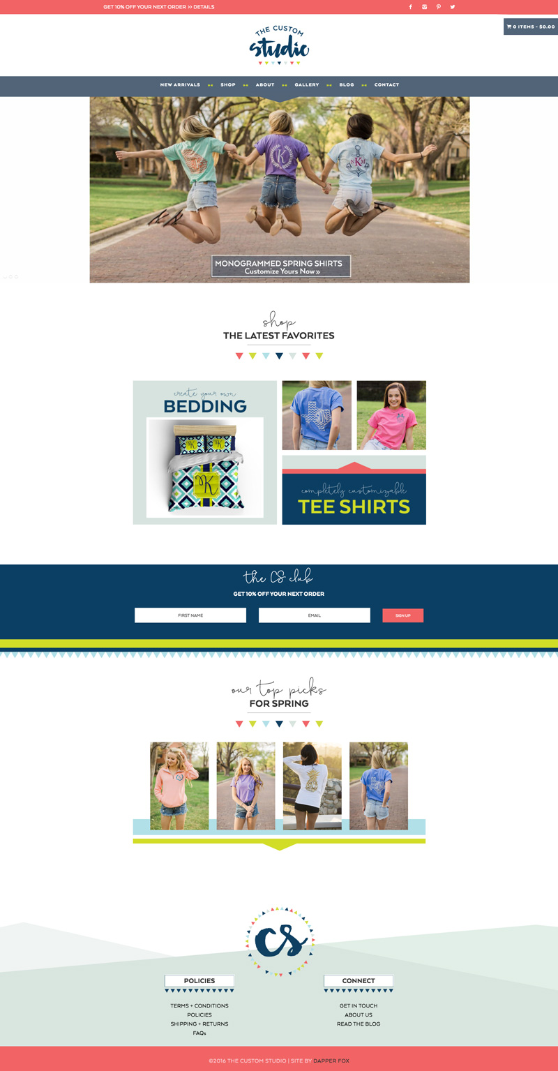 The Custom Studio Brand and Website Design by Dapper Fox Design - Bright, Modern, Feminine, Lime Green, Navy, Coral Pink Color Palette with Hand Lettered Script Brush Font and e-commerce shop