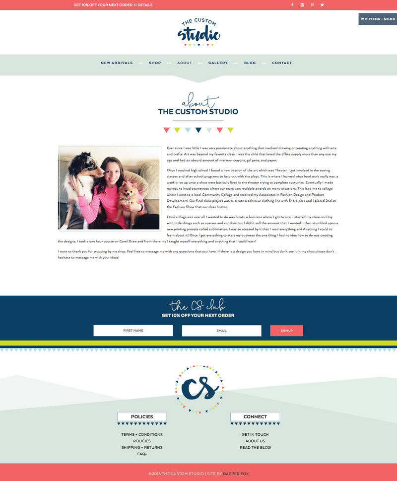 The Custom Studio Brand and Website Design  by Dapper Fox Design - Bright, Modern, Feminine, Lime Green, Navy, Coral Pink Color Palette with Hand Lettered Script Brush Font and e-commerce shop About Page