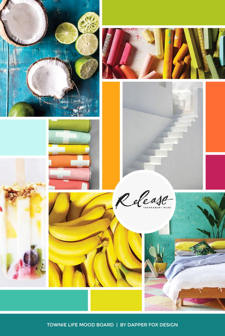 Townie Life Mood Board by Dapper Fox Design - Modern Website, Logo, Brand, Tropical, Bright, Fun, Beach, Green, Orange, Turquoise, Green Branding Colors