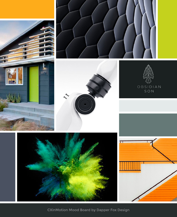 Mood Board for Consulting Agency, CX in Motion, by Dapper Fox Design in Park City, Utah. Branding Board and Design Inspiration with greys, neutrals and orange / green color palette. Technology and minimalist inspiration.  #modernlogo    #moodboard  #corporatelogo    #consultantlogo  #cleanlogo  #logodesigninspiration  #logodesign    #branding  #squarespacewebsitedesign  #squarespace
