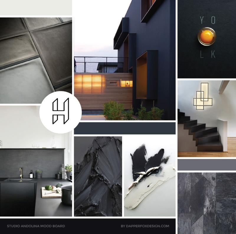 Mood Board for StudioAndolina by Dapper Fox - Modern Masculine Design, #minimal #minimalist #neutral #branding #mood board #modernlogo