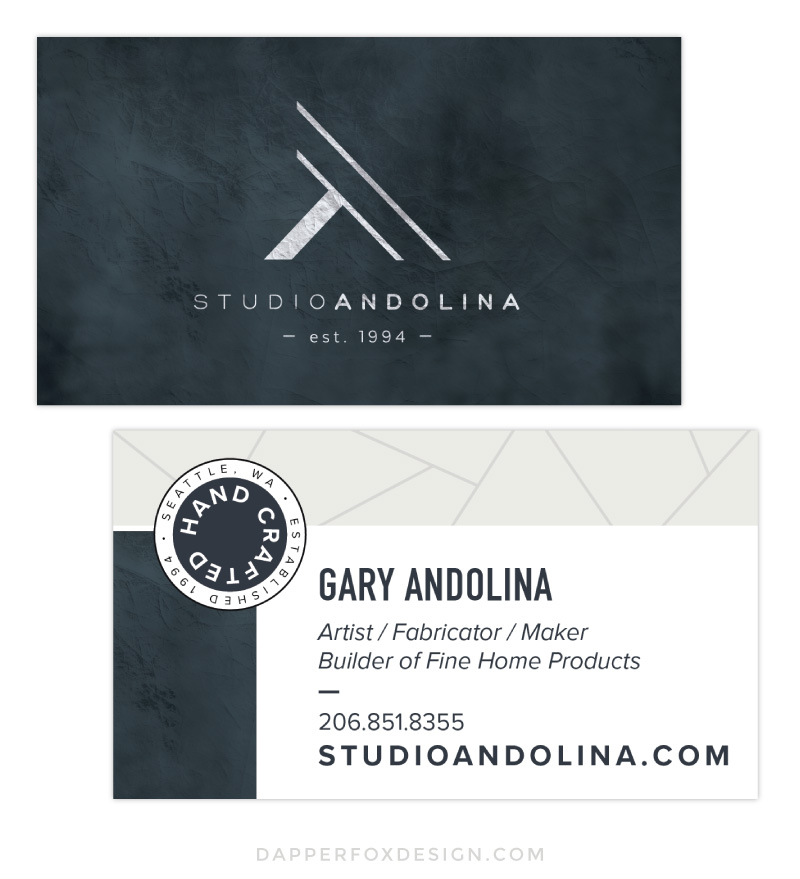 Business Card Design for StudioAndolina by Dapper Fox #modern #design #geometric #masculine #artistdesign #minimalist