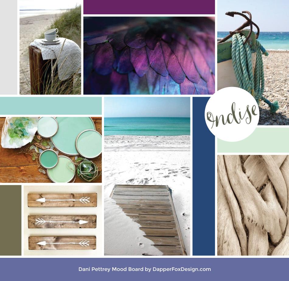 Dani Pettrey Mood Board for Brand Design   - Feminine Logo Designs #Coastal #Beach #Ocean #Design #Modern Script Font Logo #arrows