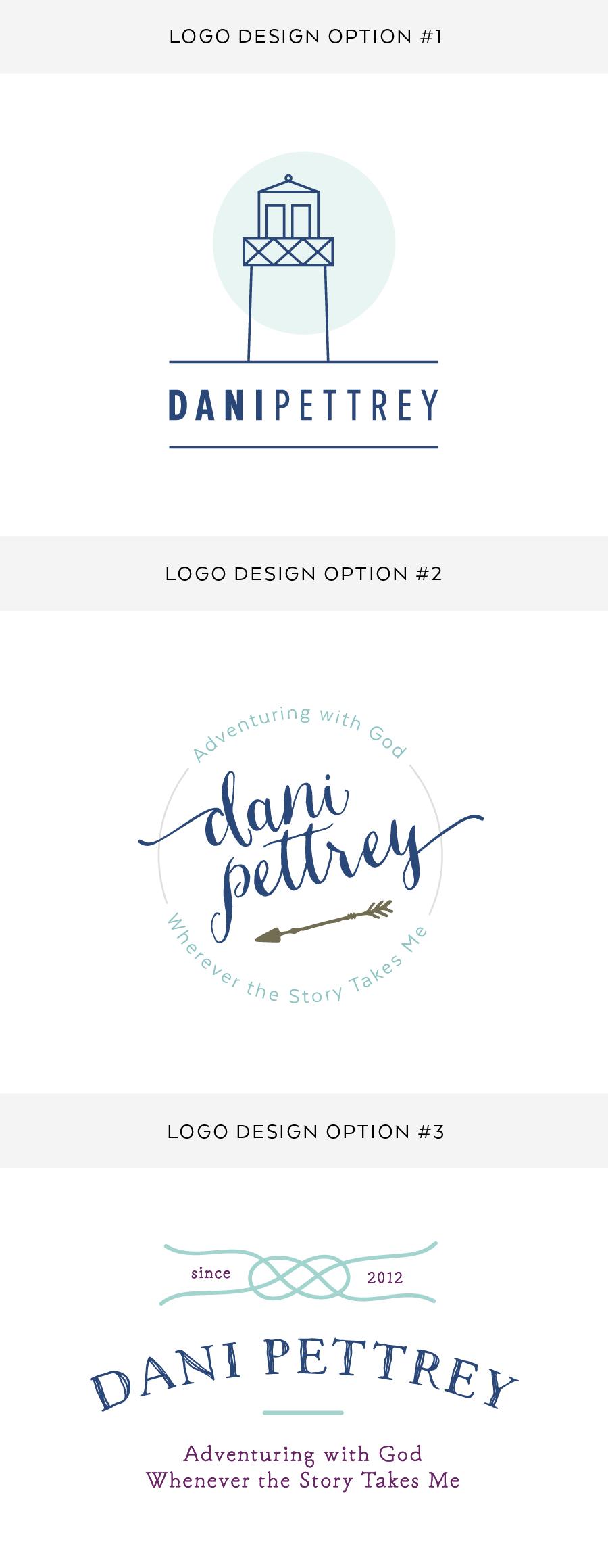 Author Dani Pettrey Brand Logo Design and   Branding - Feminine Logo Designs #Coastal #Beach #Ocean #Design #Modern Script Font Logo #arrows