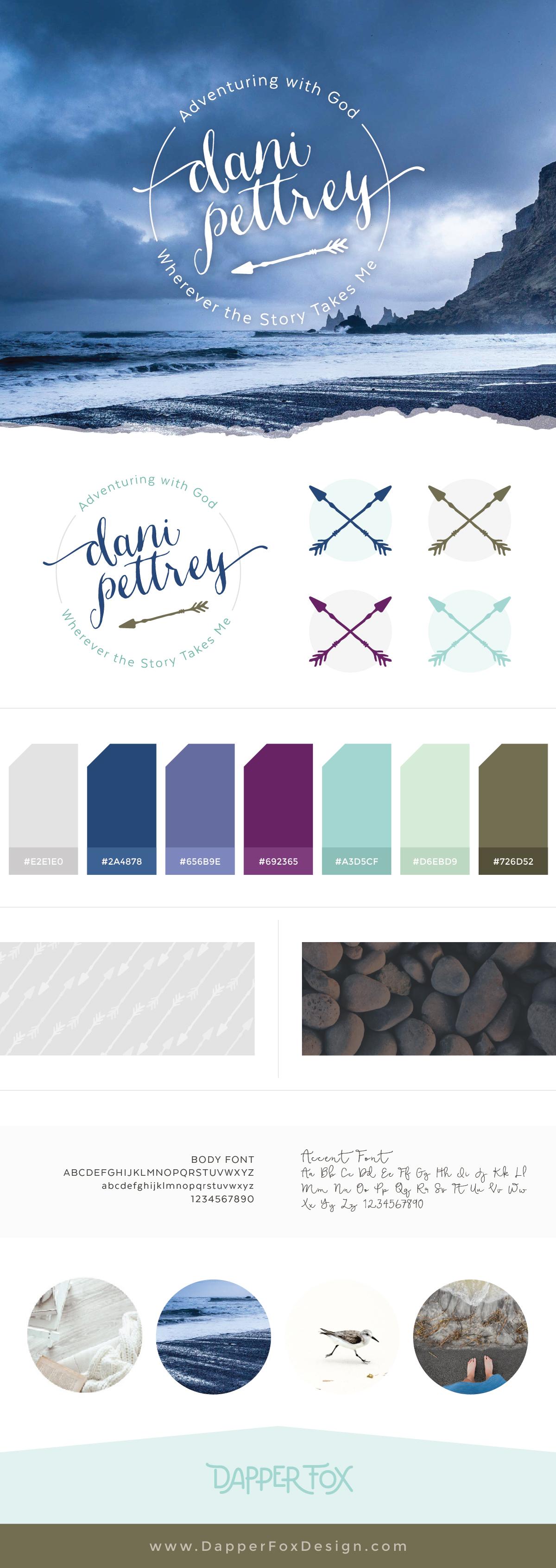 Author Dani Pettrey Brand Logo Design and   Branding #Coastal #Beach #Ocean #Design #Modern Script Font Logo #arrows