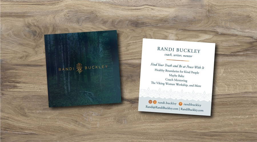 Thank You Card and Business Card for Life Coach Randi Buckley by Dapper Fox Design