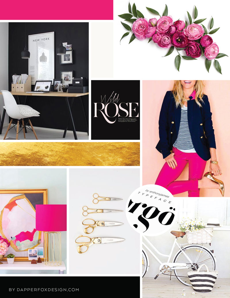 Modern feminine #gold #pink #blackandwhite Logo Design and Branding Mood Board