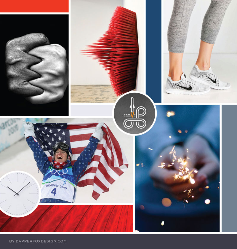 Team Empower Hour in Utah Mood Board and Brand Design by Dapper Fox | Modern, fun logo design for corporate team building #redwhiteandblue #modernlogo