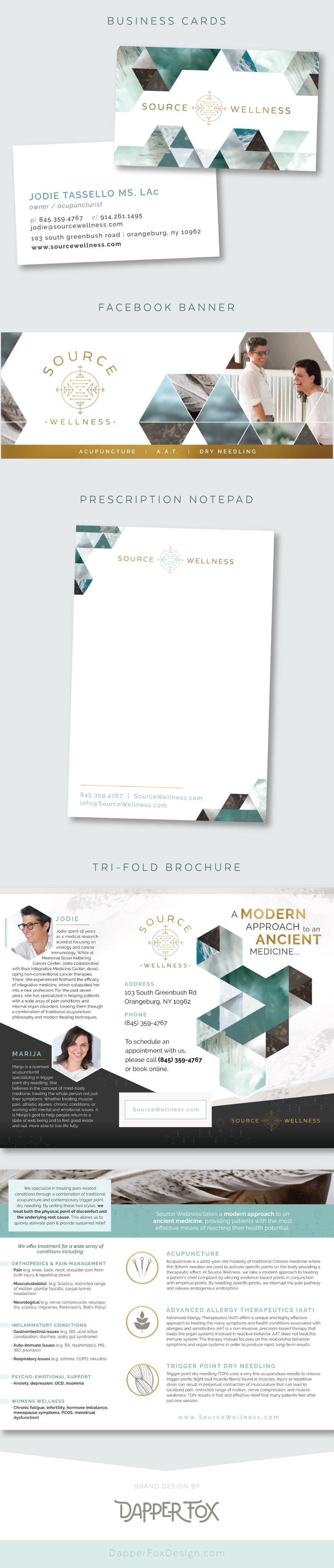 Source Wellness Business Card Design - Brochure Design - Social Media Graphics - Marketing Materials for Brand