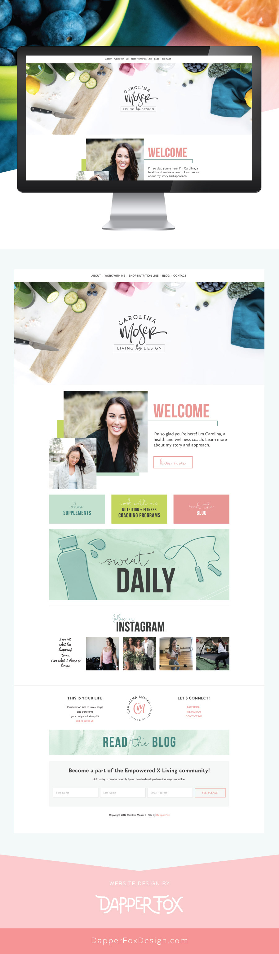 Squarespace Website Design - Carolina Moser Utah Squarespace Website Design and Branding by Dapper Fox Design