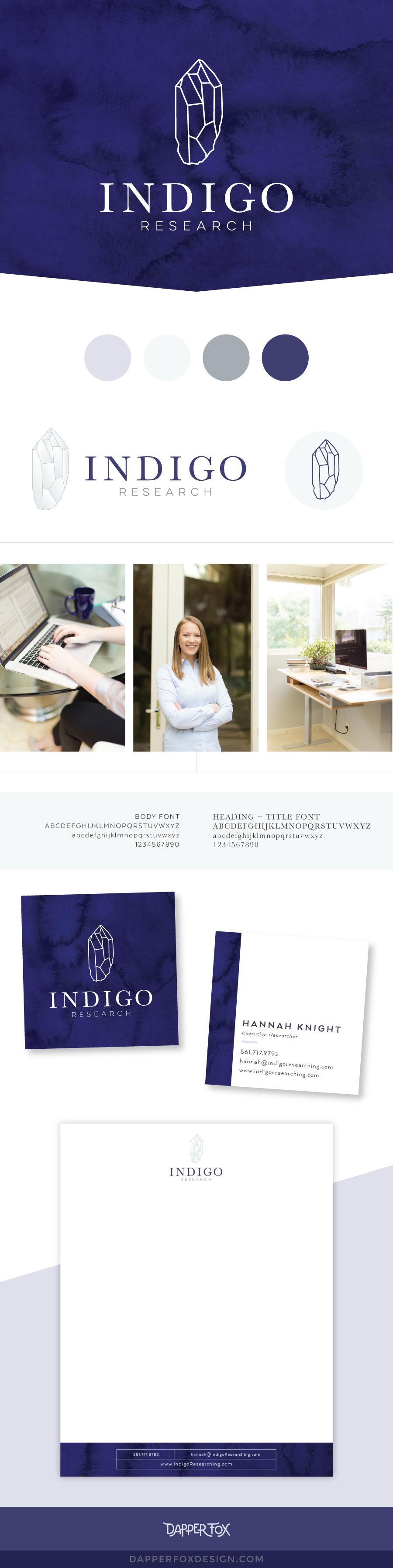Logo and Branding Board for Indigo Research - Dapper Fox Design | logo concepts | logo design, logo, designer, brand designer, corporate, clean, minimalist, blue, business card | www.dapperfoxdesign.com