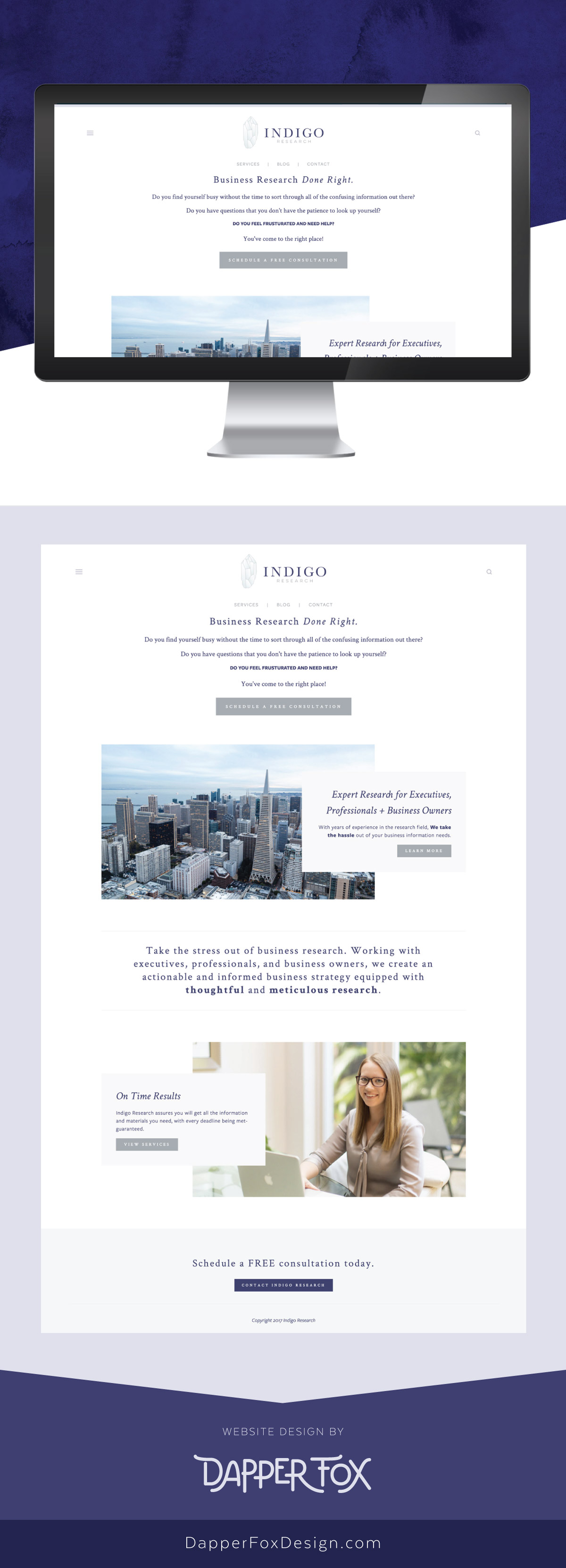 Squarespace Website Design - Indigo Research Florida Squarespace Website Design and Branding by Dapper Fox Design