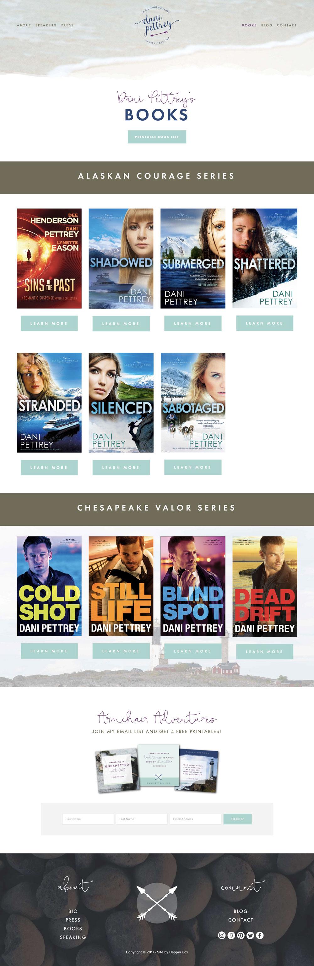 Dani Pettrey Book Author Wordpress Website and  Branding Design #Coastal #Beach #Ocean #Design #Modern