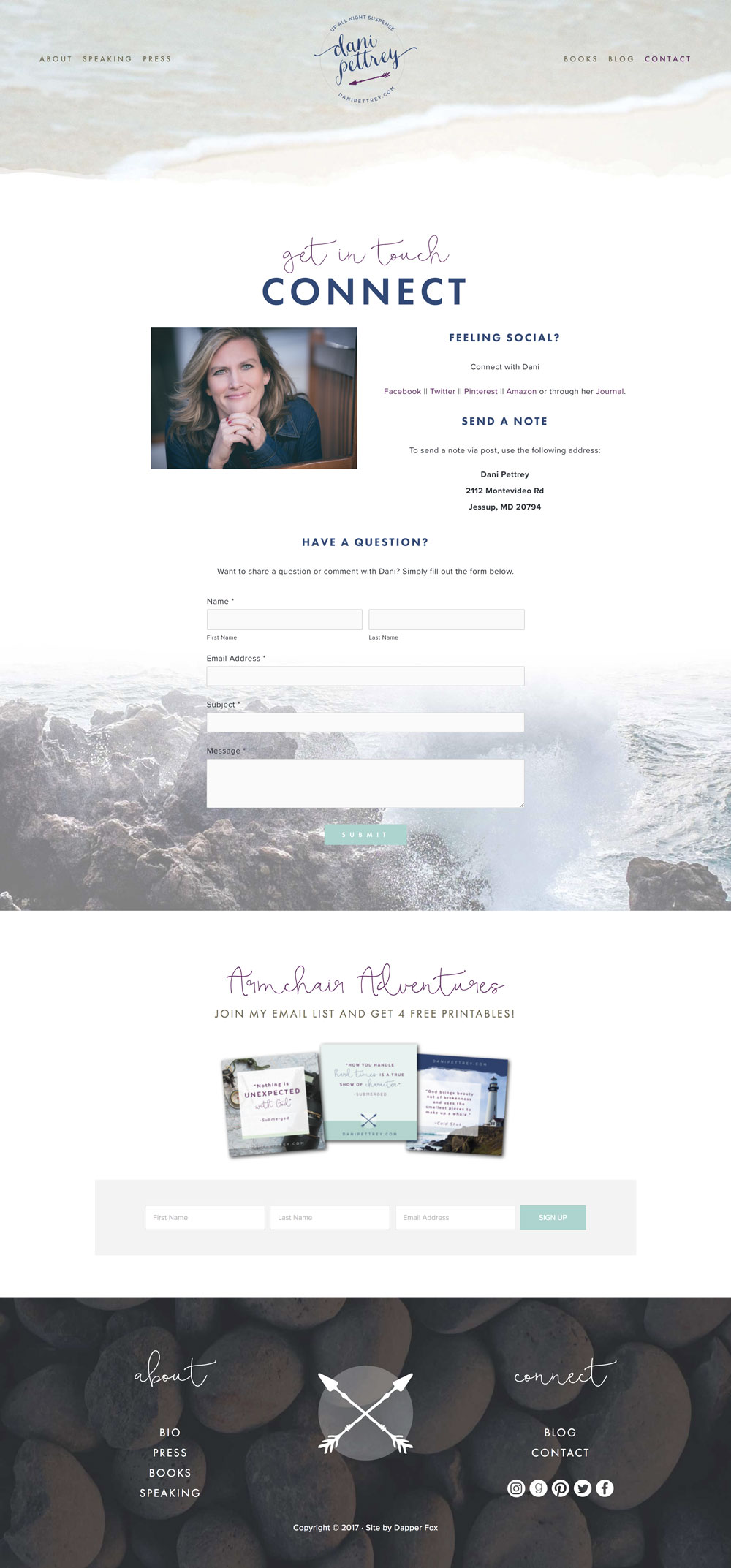 Dani Pettrey Award Winning Book Author Wordpress Website and Branding Design #Coastal #Beach #Ocean #Design #Modern