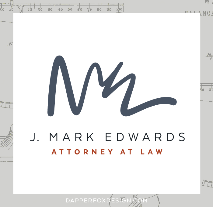 Mark Edwards Utah Attorney Branding Logo and Website Design by Dapper Fox  |  Lawyer, professional, attorney modern business branding