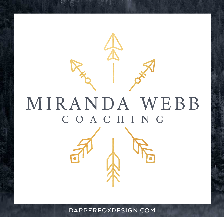 Miranda Webb Life and Business Coaching Modern Earthy Arrow Logo and Brand Design
