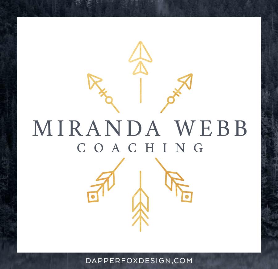 Miranda Webb Life and Business Coaching Modern Earthy Arrow Logo and Brand Design