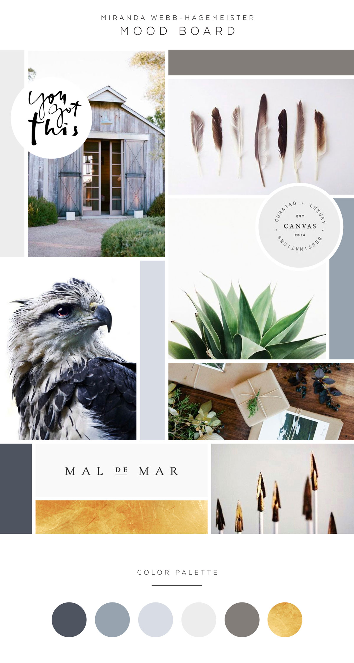 Mood Board and Color Palette Gold Navy Grey Miranda Webb Life and Business Coaching Modern Earthy Arrow Logo and Brand Design