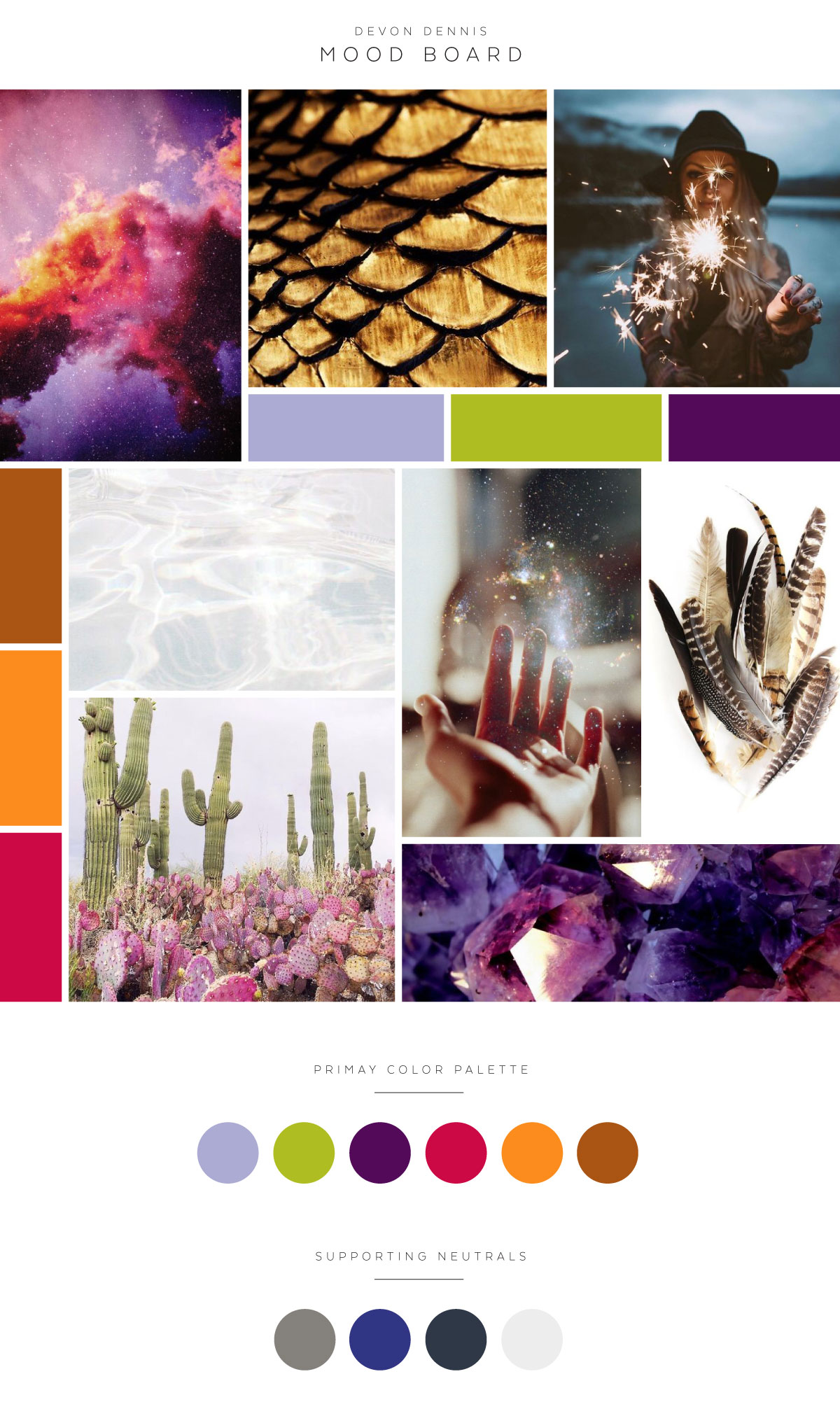 Magical Mood Board and Color Palette #red #purple #gold #orange #feathers #handwrittenlogo #jeweltones