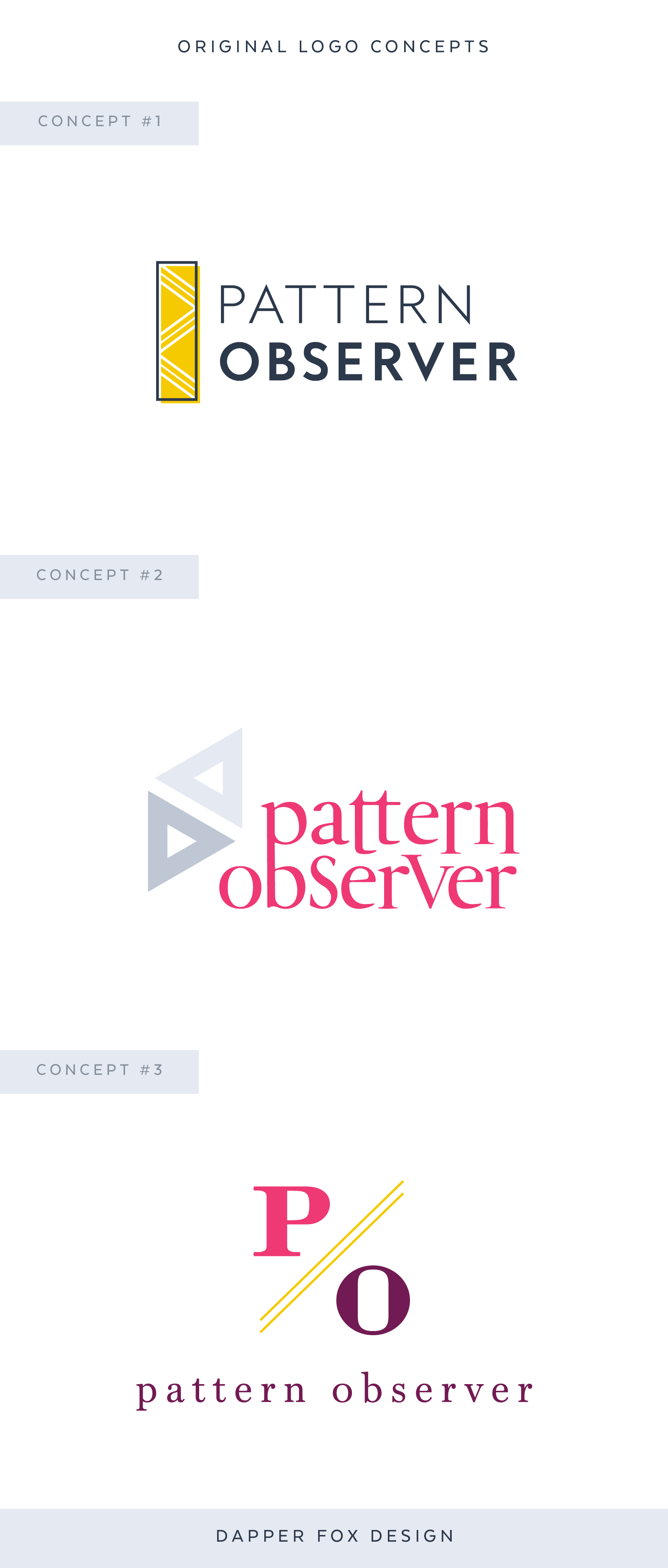 Pattern Observer Modern Logo Design Pink Yellow Triangular Feminine Logo