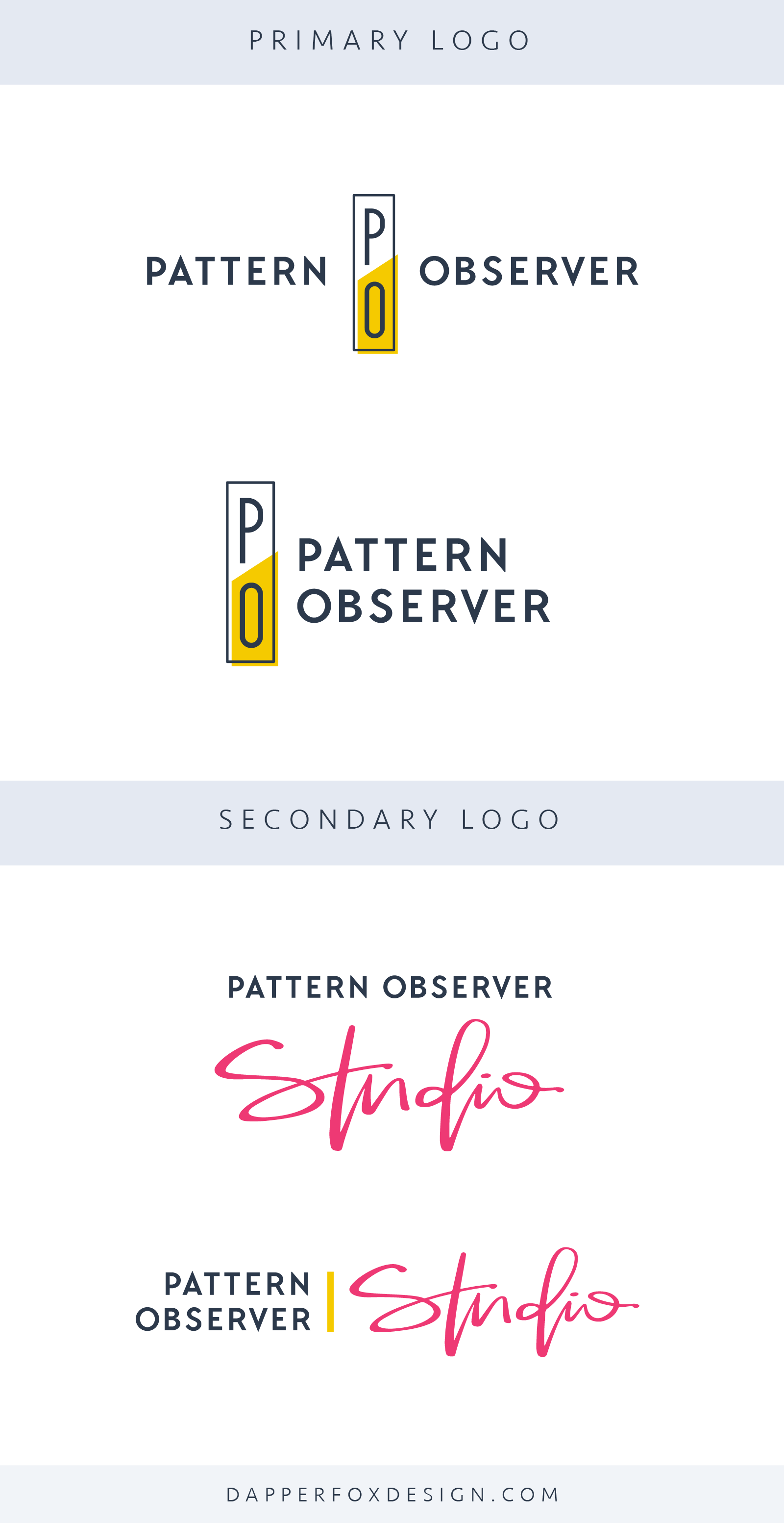 Pattern Observer Logo and Brand Design by Dapper Fox - Feminine, Modern, Colorful, Handwritten Logo, Script Font Sans Serif, Clean Logo Design