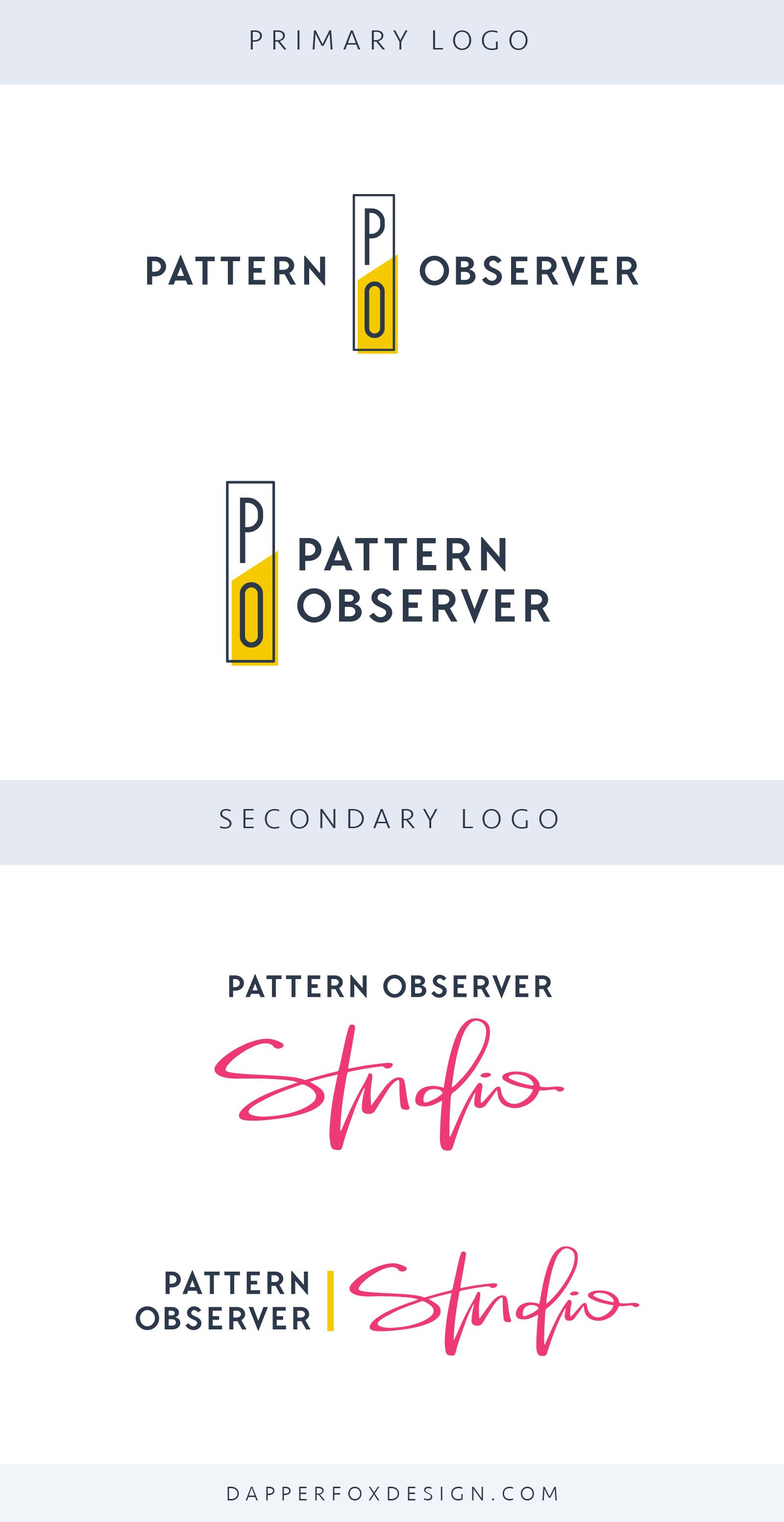 Pattern Observer Logo and Brand Design by Dapper Fox - Feminine, Modern, Colorful, Handwritten Logo, Script Font Sans Serif, Clean Logo Design