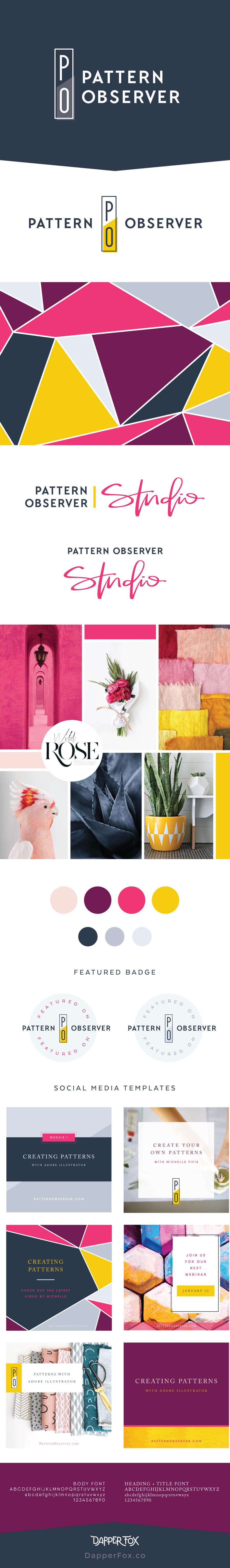 Pattern Observer Logo and Brand Design by Dapper Fox - Feminine, Modern, Colorful, Handwritten Logo, Script Font, Pink, Purple, Yellow Color Scheme