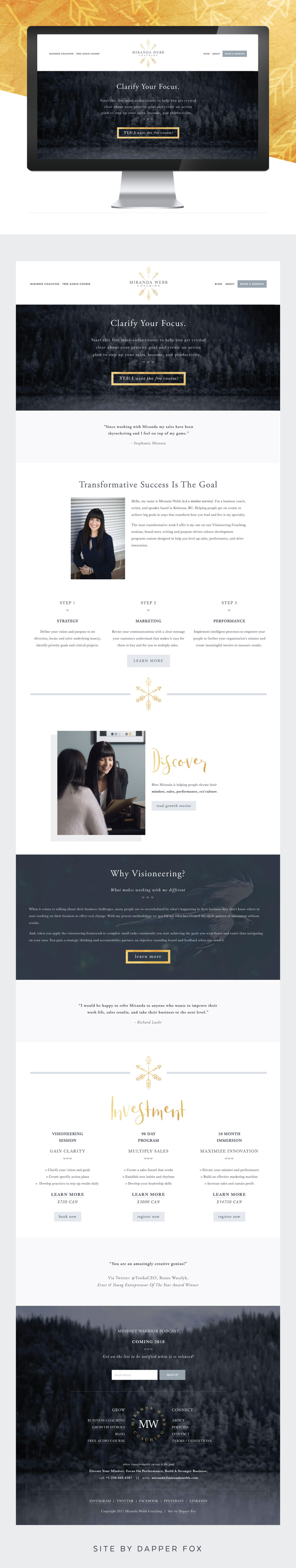 Miranda Webb Squarespace Website for Business Coaching - Modern, Full Banner Forest Imagery with Gold, Greys and Neutral Color palette