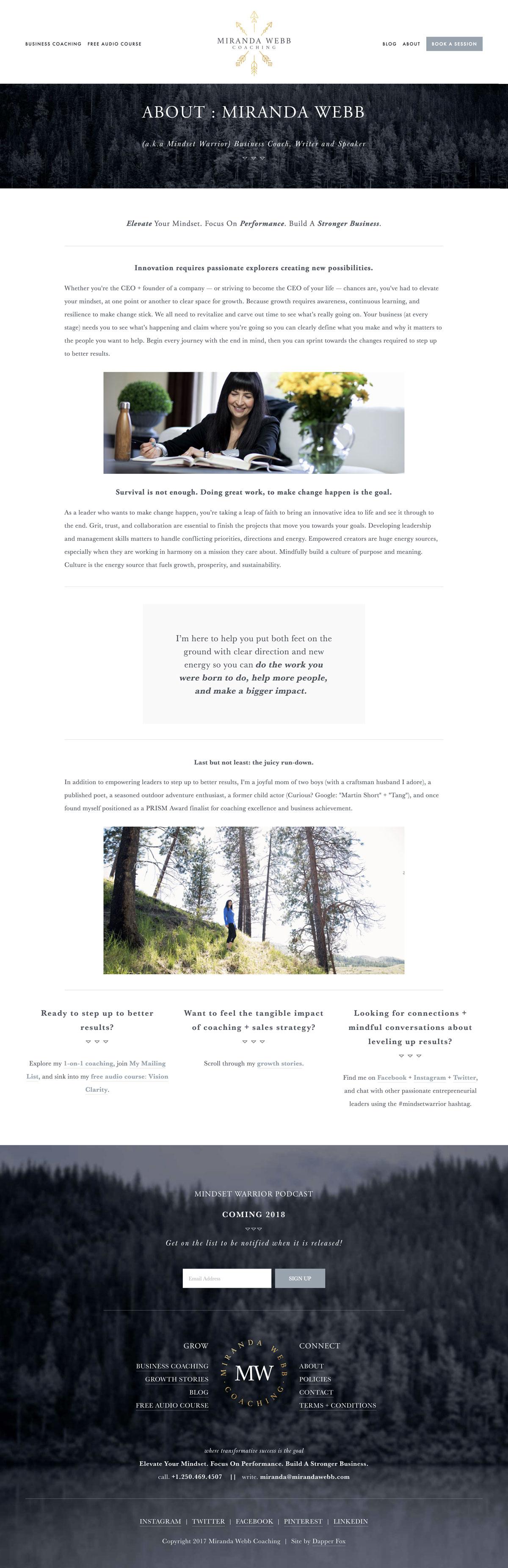 About Miranda, Business Warrior and Mindset Coach Website Design