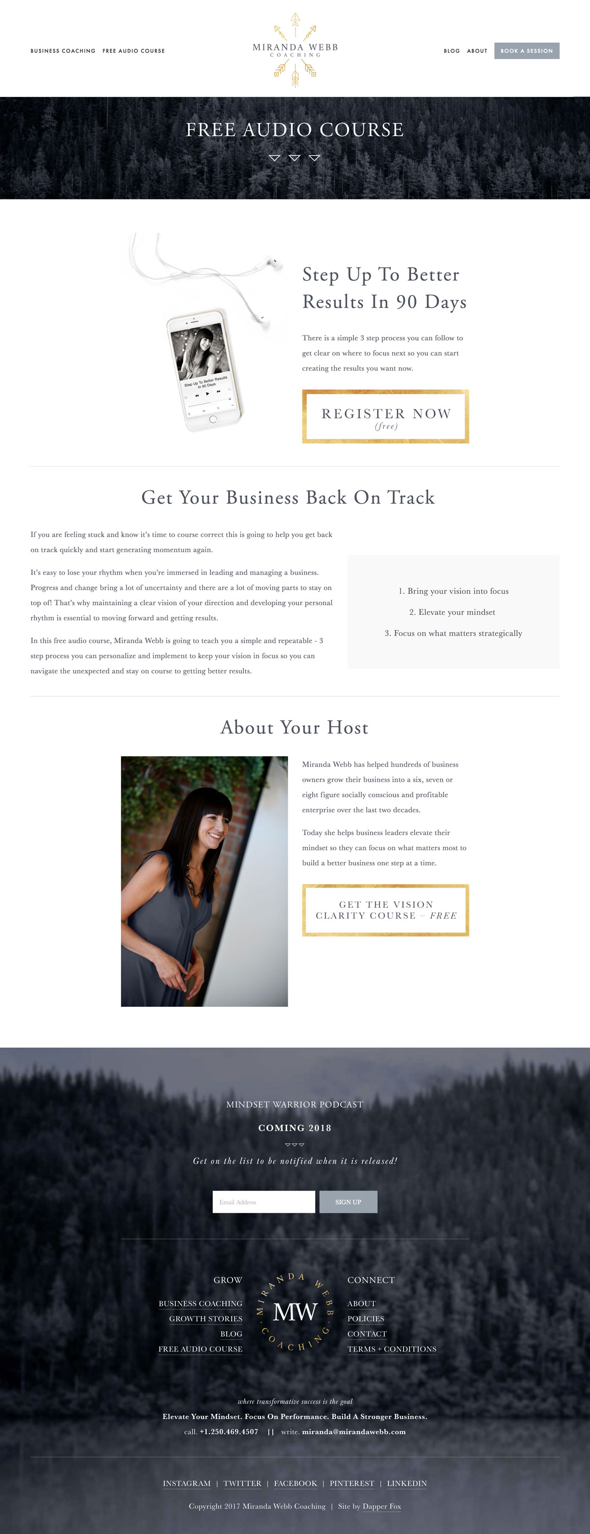 Audio Course on Squarespace Website for Business Coaches by Dapper Fox