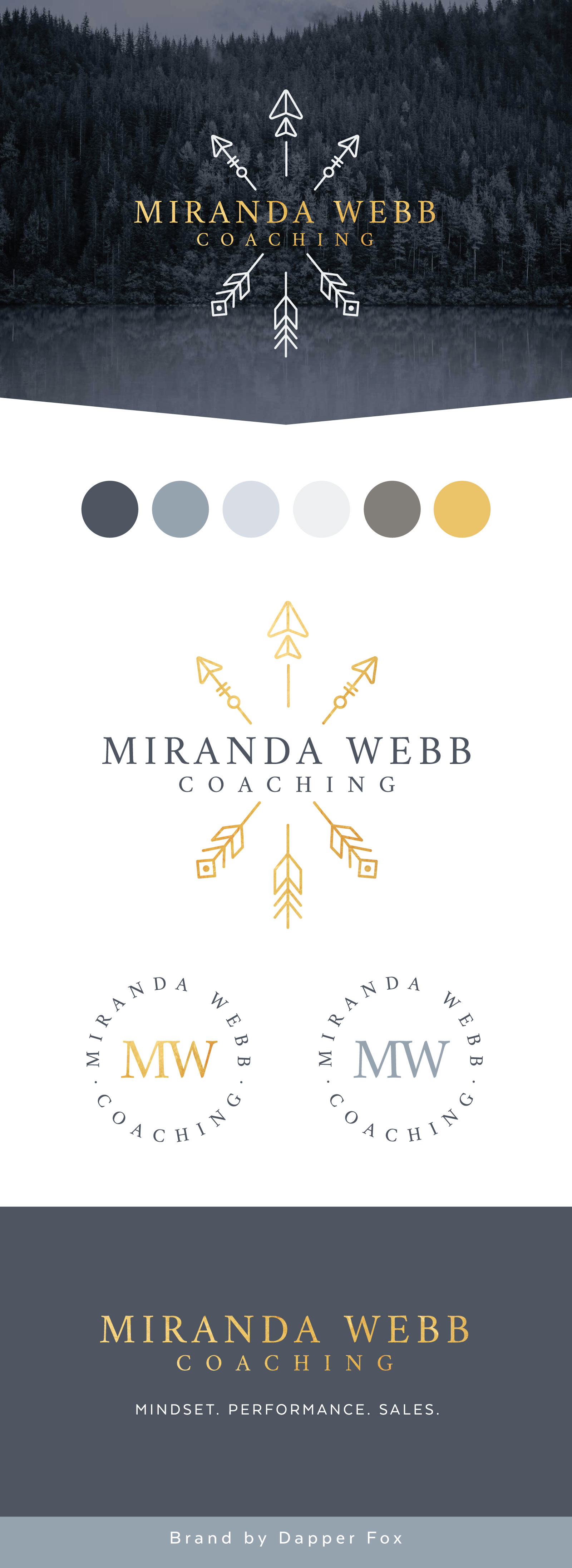 Miranda Webb Coaching Business Coach Logo and Brand Design - Arrow, Gold, Grey Color Scheme Modern Logo Design