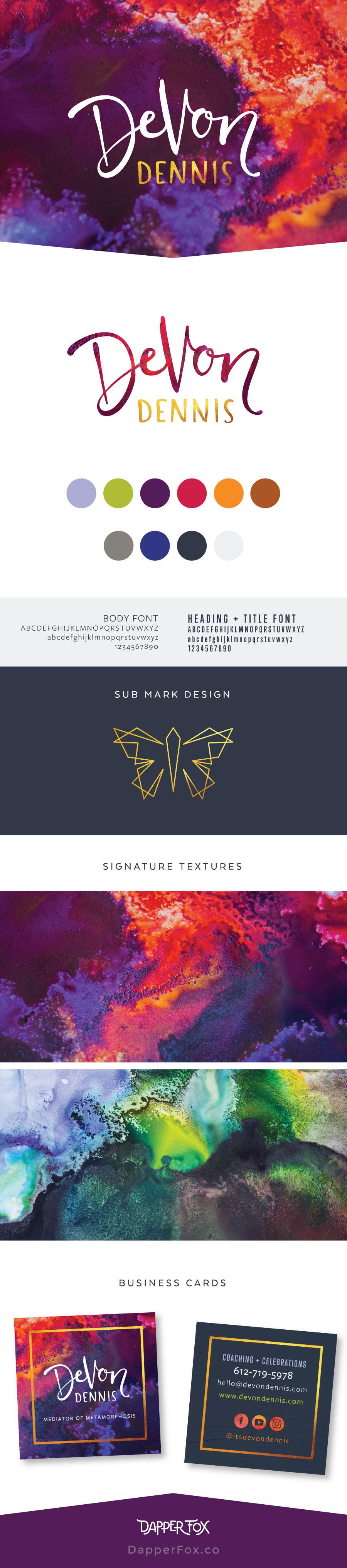 Brand Design for Devon Dennis Handwritten Script Logo Design Red Gold Purple Magical Coaching Logo #handwritten #logo #handlettering #scriptfont #handwrittenlogo #logodesign #magicallogo #coachinglogo