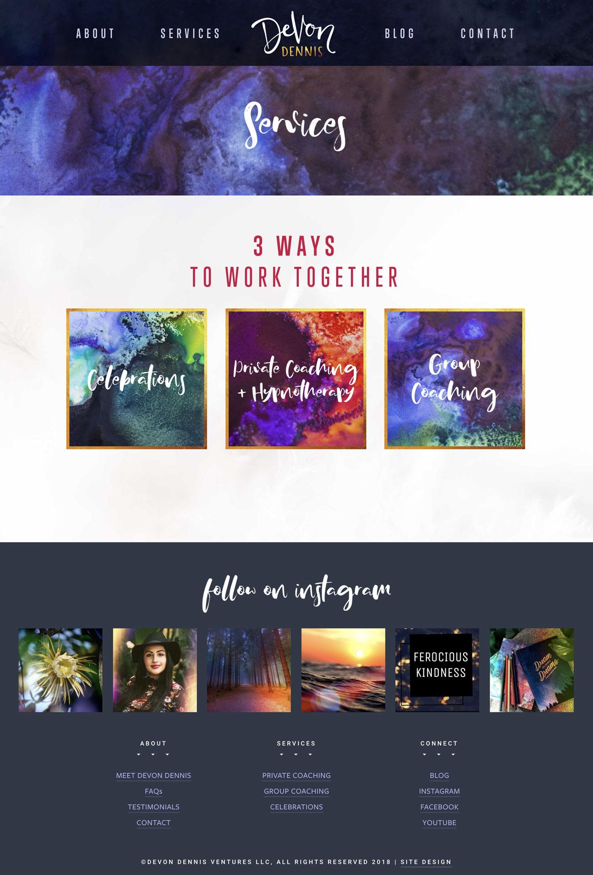 Squarespace Website Design Magical Brand for Devon Dennis Coaching Watercolor Textures Handwritten Script Font #websitedesign #modernwebsite #magicalwebsitedesign