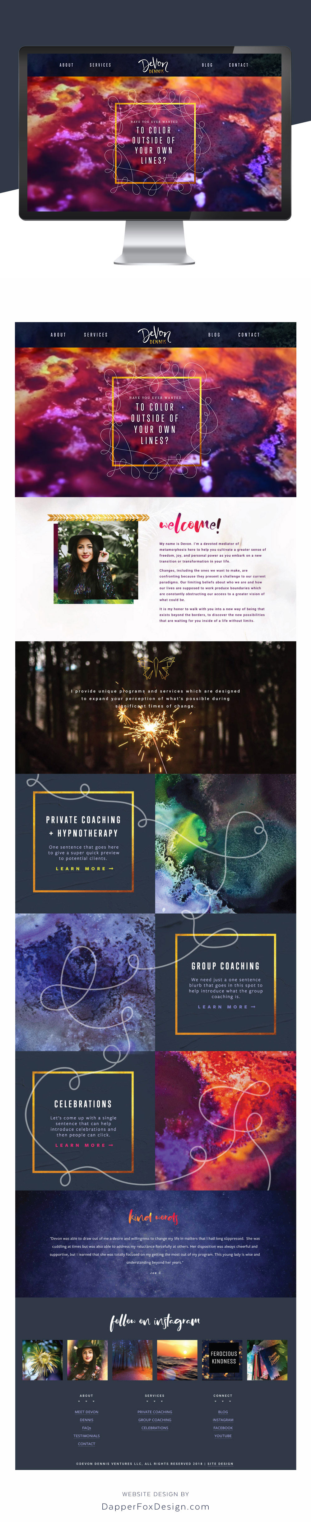 Squarespace Website Design Magical Brand for Coaching Watercolor Textures Handwritten Script Font #websitedesign #modernwebsite #magicalwebsitedesign