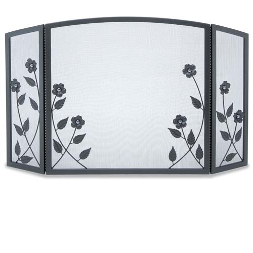 Pilgrim 3 Panel Forged Floral Fireplace Screen