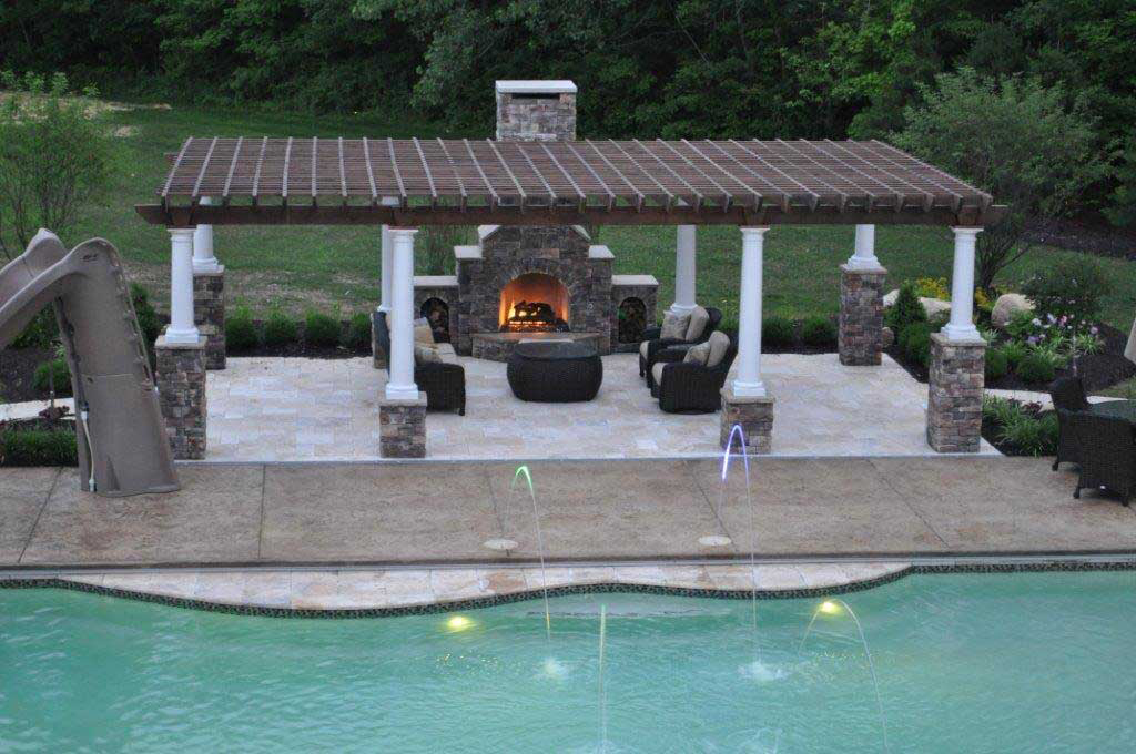 outdoor brick fireplaces  & custom outdoor fireplace & Shade Structures