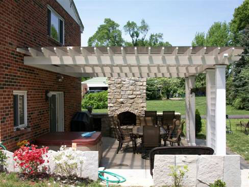 Square Outdoor Fireplace & Shad Structures