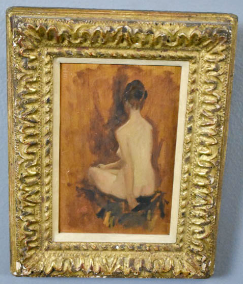 """An example from our December sale - a nude by A. A Shikler, who painted JFK's posthumous White House portrait.6 1/4"""" x 4 1/2"""""""