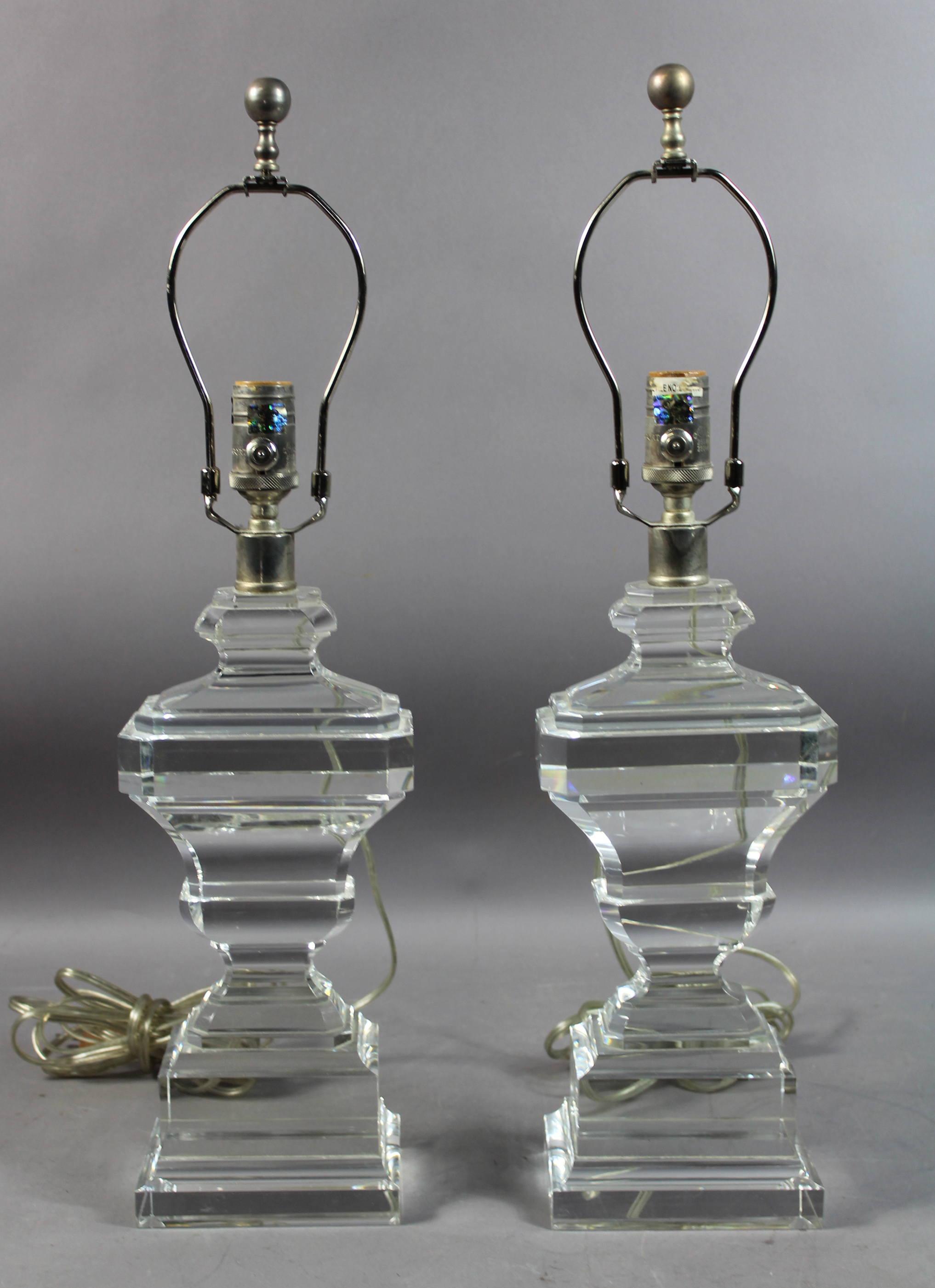 PAIR OF CRYSTAL URN-FORM LAMPS