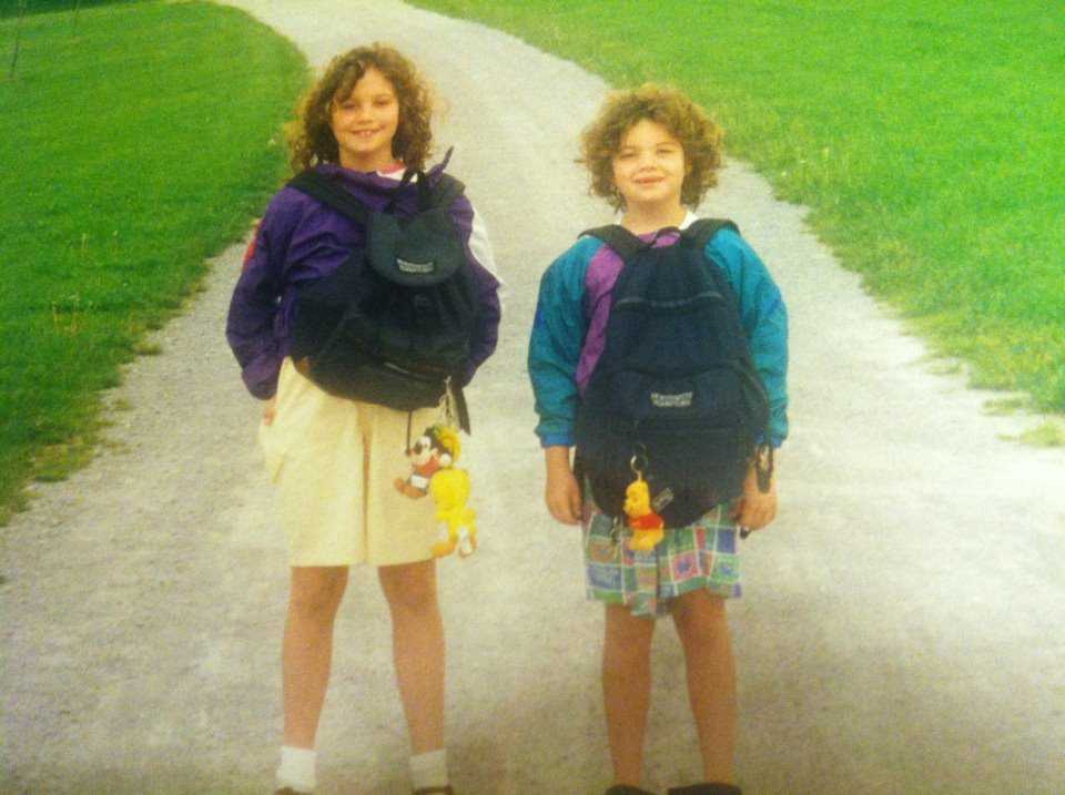 """Embarrassing photo of my sister and I dressed up for """"Backwards Day"""" duringRight-to-Read week"""