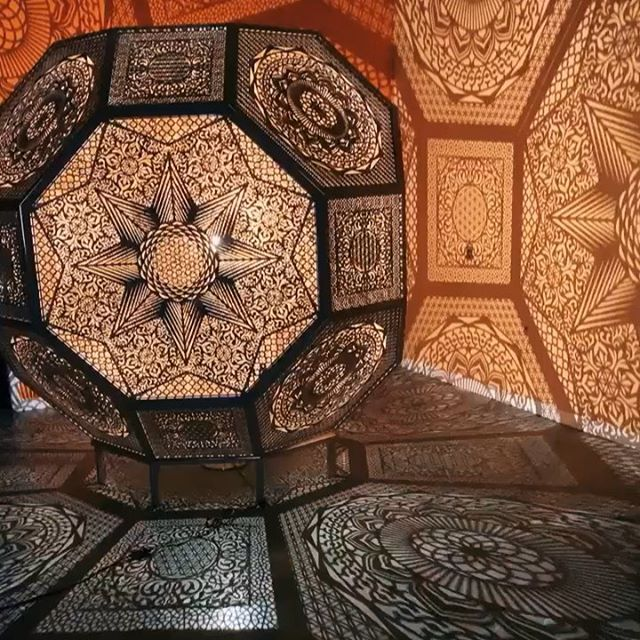 Cool space and work by @etchpros. Can't wait for more collabs. #etchpros #etch #lasercut #engrave #lamp #wood #projection #geometricart #tampa #florida