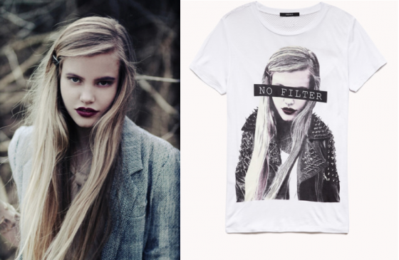 Withrow's photo (left) & Forever 21's t-shirt (right)