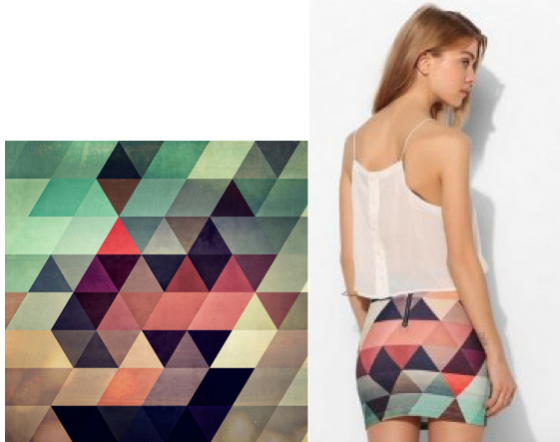 Soares' Tryppyzoyd print (left) and the Bambam x Urban Outfitters skirt (right)