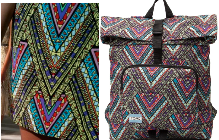 Mara Hoffman's Tee Pees print (left) and Toms' Backpack (right)