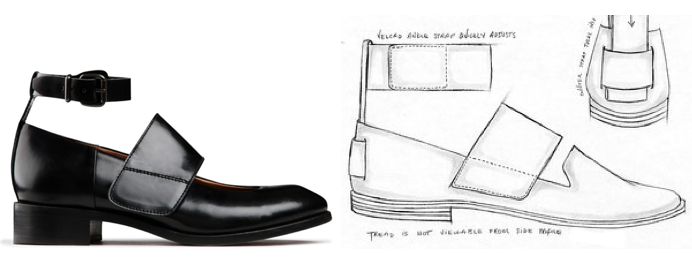 ACNE's Daan shoe (left) & Drake's Citibike sketch (right)