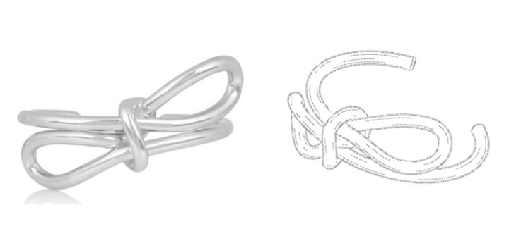 The Bow Bracelet (left) and a drawing from the patent application (right)