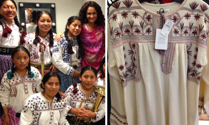 the Oaxaca designs (left) and one from Isabel Marant's S/S 15 collection (right)