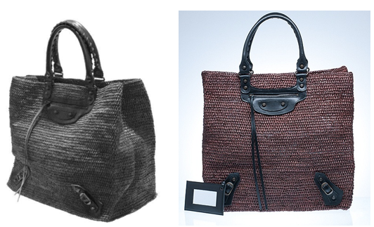 image from Balenciaga's patent application (left) & its shopper tote (right)